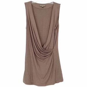 Tommy Bahama Brown Sleeveless Faux Wrap Blouse